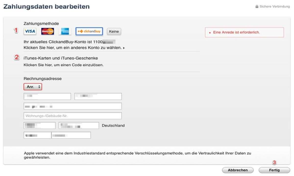 Bezahlen in Apples App Store - Account