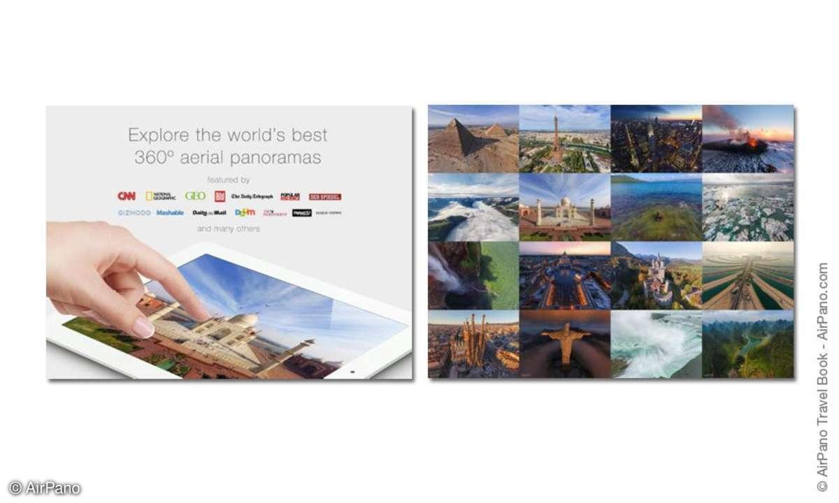 screenshot airpano travel book, ipad app,