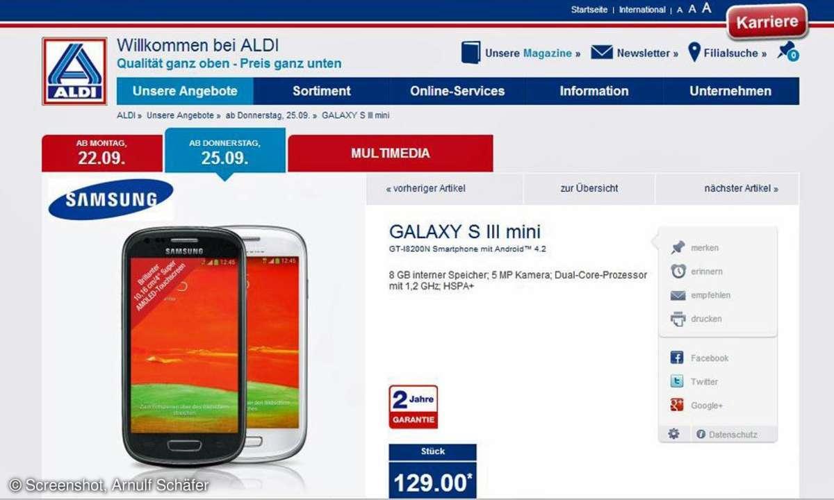 Samsung Galaxy S3 mini, Aldi
