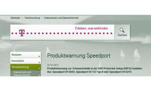 Telekom Speedport-Warnung