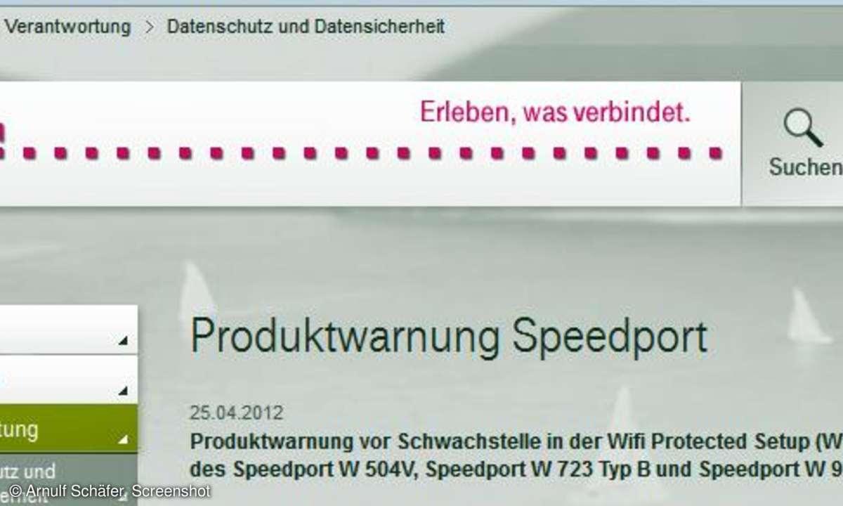 Telekom Speedport-Warnung