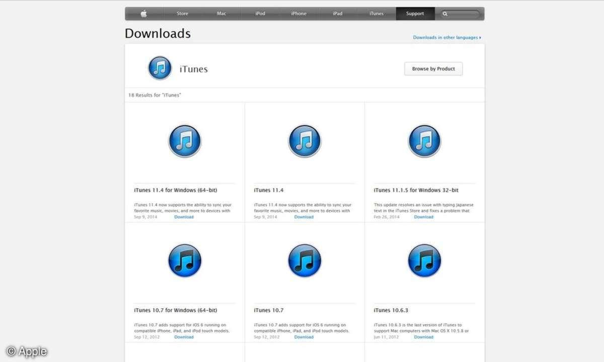 iTunes Download-Webseite