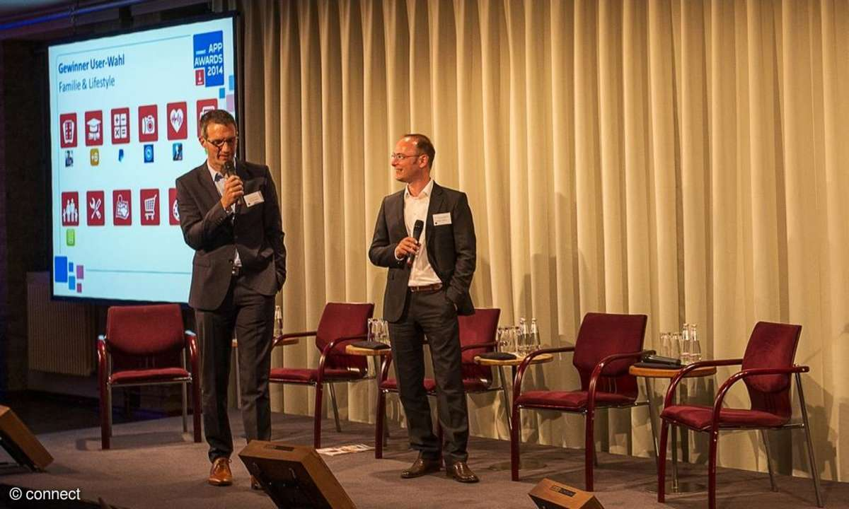 connect App Awards 2014: Dirk Ellenbeck (Vodafone) und Damjan Stamcar (Sony)