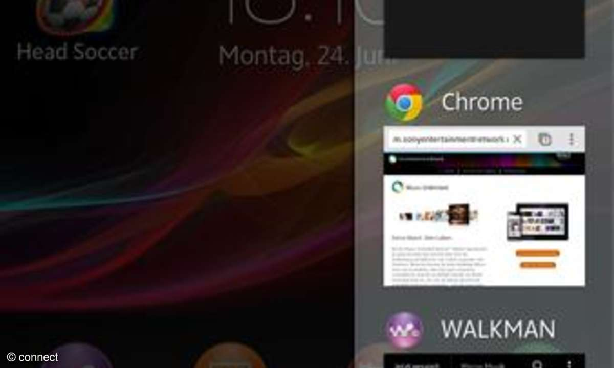 Sony Xperia ZL - Recent App Ansicht