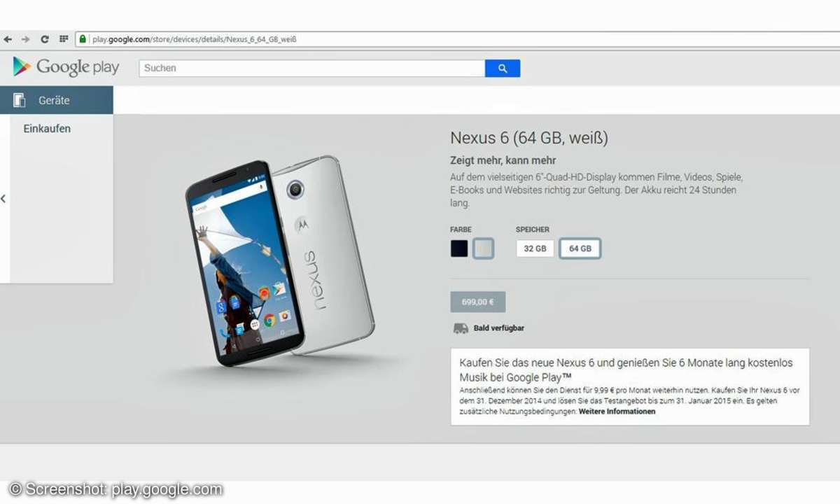 Nexus 6 im Play Store