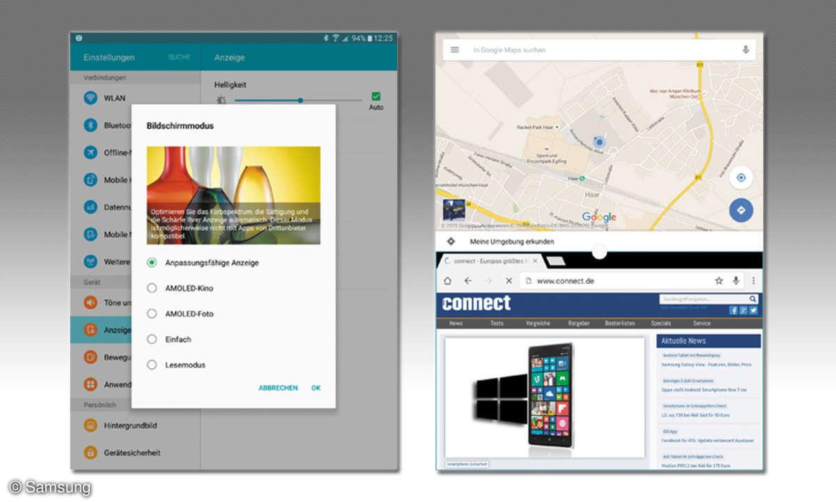 Samsung Galaxy TabS2 - Einstellungsmenü und Multi Window