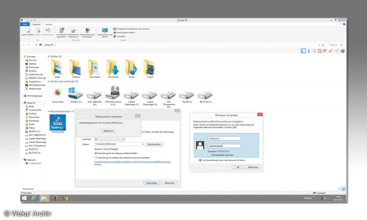 Screenshot: NAS-Verzeichnisse