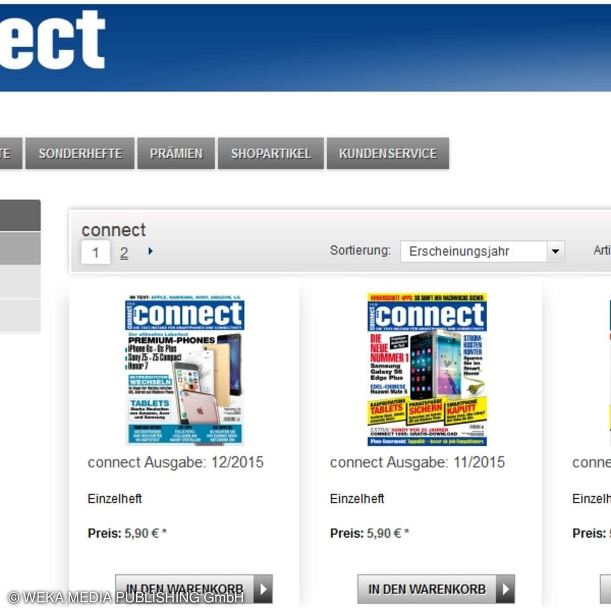 connect Aboshop für alle Abos, Einzelhefte sowie Sonderhefte