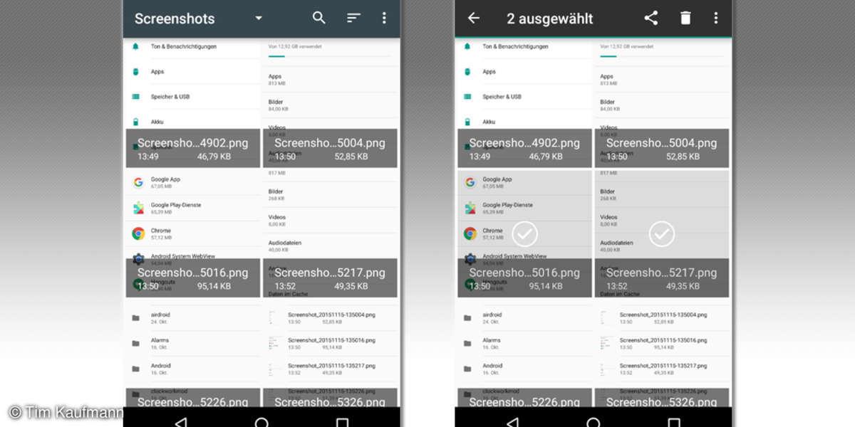 Screenshots: Dateien auswählen