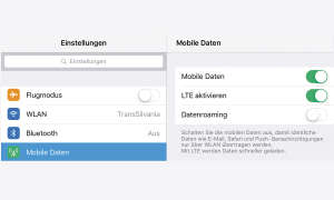 Screenshot: Mobile Daten