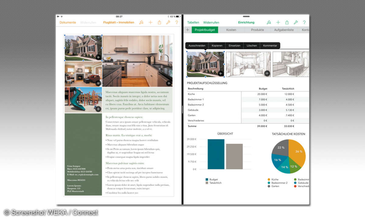 iPad Pros teilbarer Bildschirm