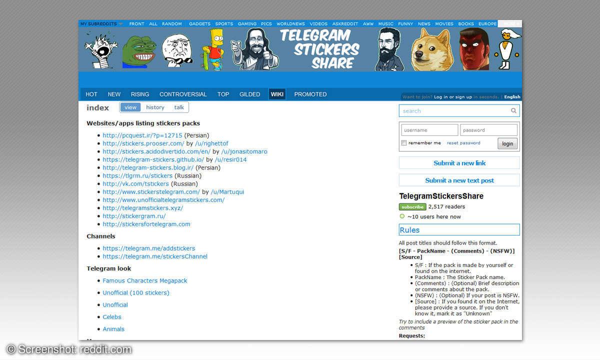 Telegram Sticker auf Reddit