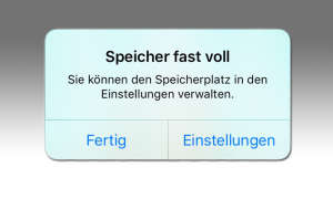 iOS-Hinweis Popup Speicher Meldung