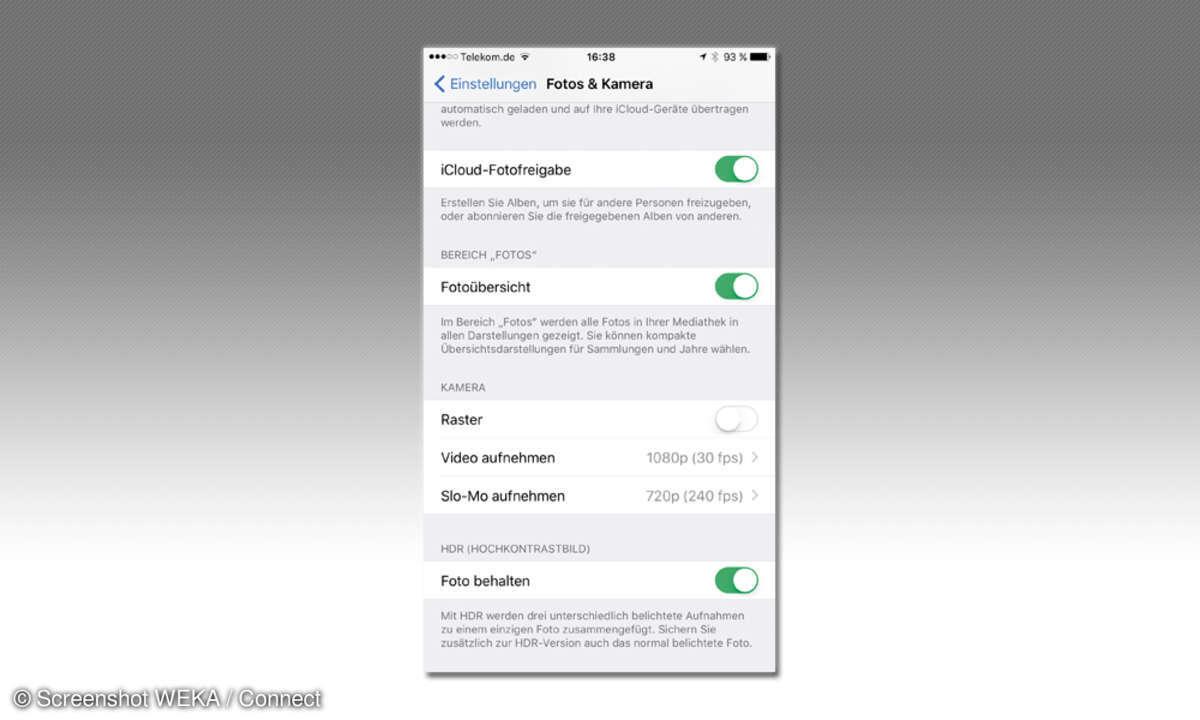 iOS Fotoeinstellungen