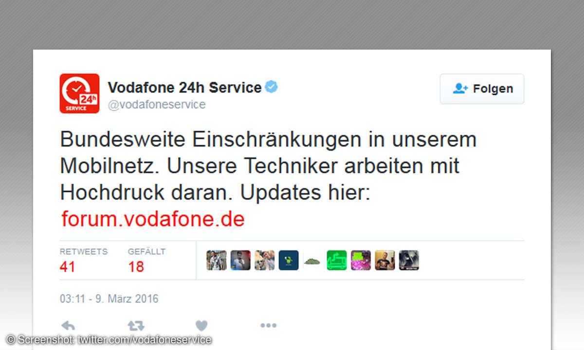 Vodafone Störung - Meldung auf Twitter