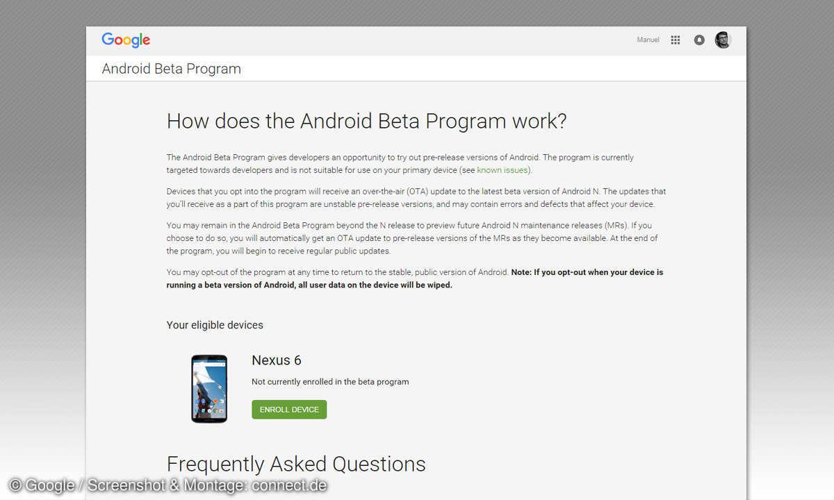 Android N Beta - Gerät anmelden
