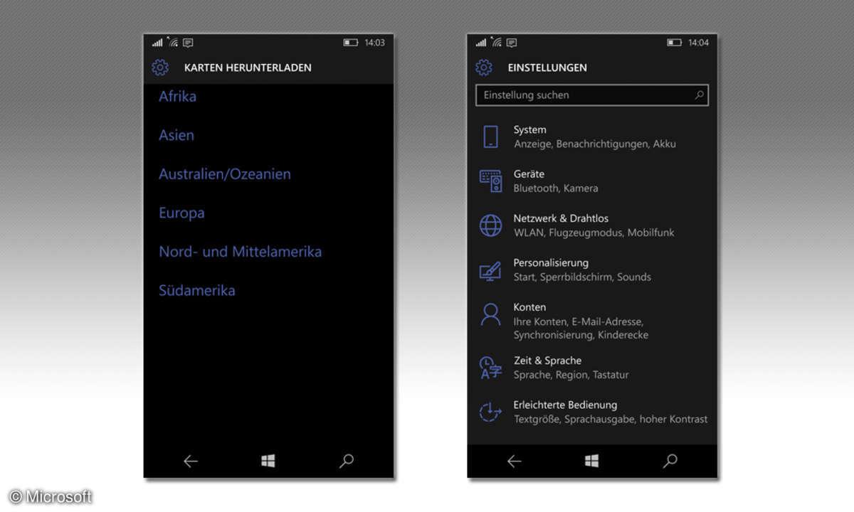 Microsoft Lumia 650 Einstellungen