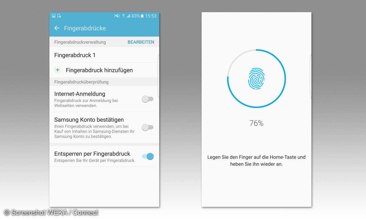 Galaxy S7 Edge: Fingerabdruck einrichten