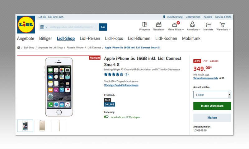 iphone 5s bei lidl im aktionsangebot kaufen ohne vertrag. Black Bedroom Furniture Sets. Home Design Ideas