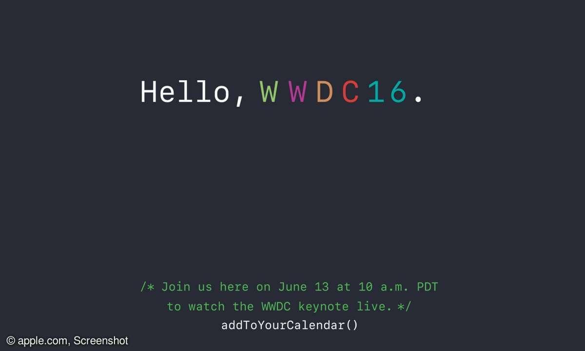 WWDC Keynote Webseite apple.com Screenshot Ankündigung