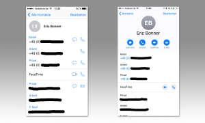 iOS 10 Kontakte