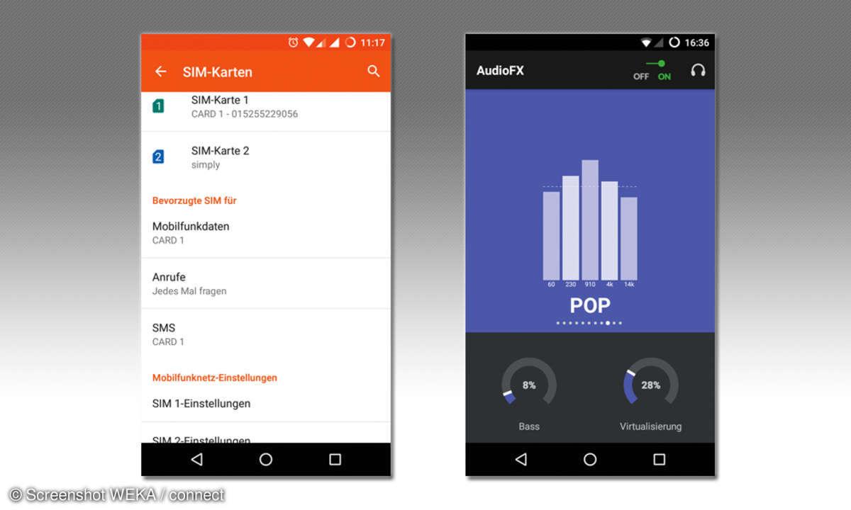 SIM-Funktionen und AudioFX