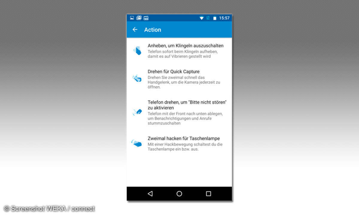 Lenovo Moto G4 Plus Gesten Steuerung