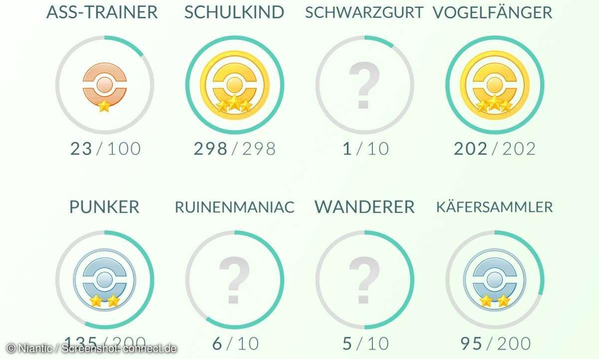 Pokémon GO Medaillen Liste Erfolge Badges