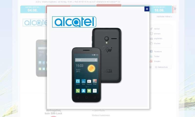alcatel pixi 3 4013d 50 euro smartphone bei aldi im schn ppchen check connect. Black Bedroom Furniture Sets. Home Design Ideas