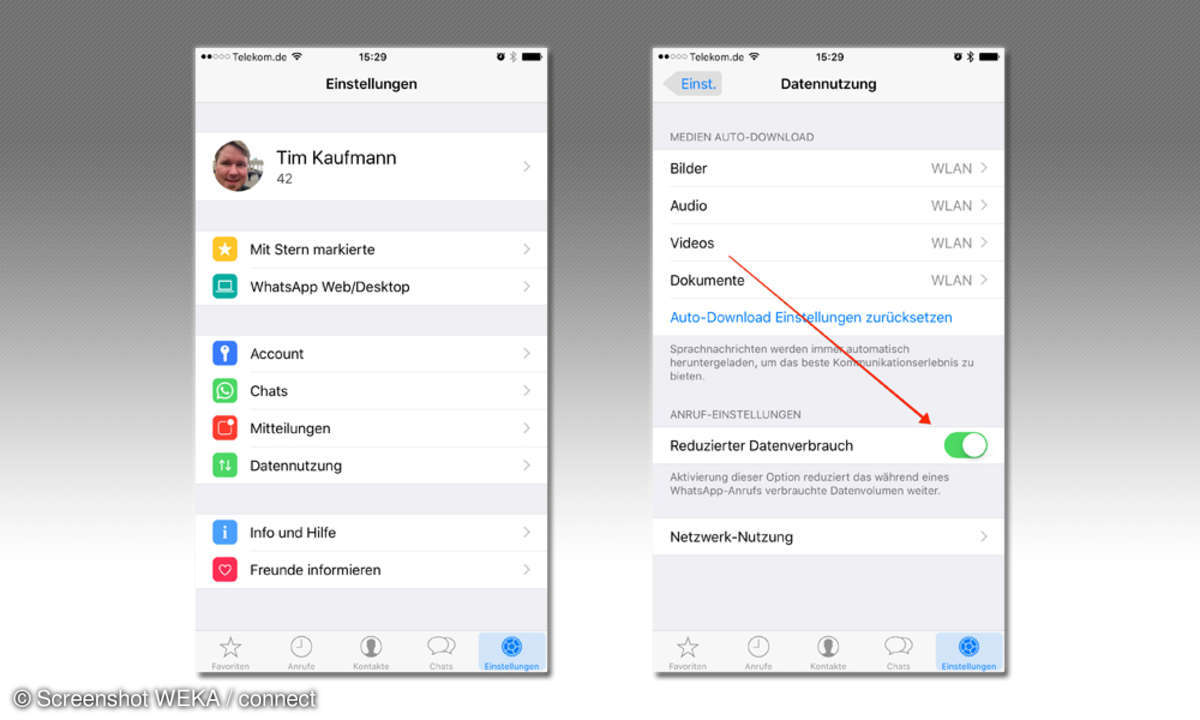WhatsApp Datenverbrauch reduzieren