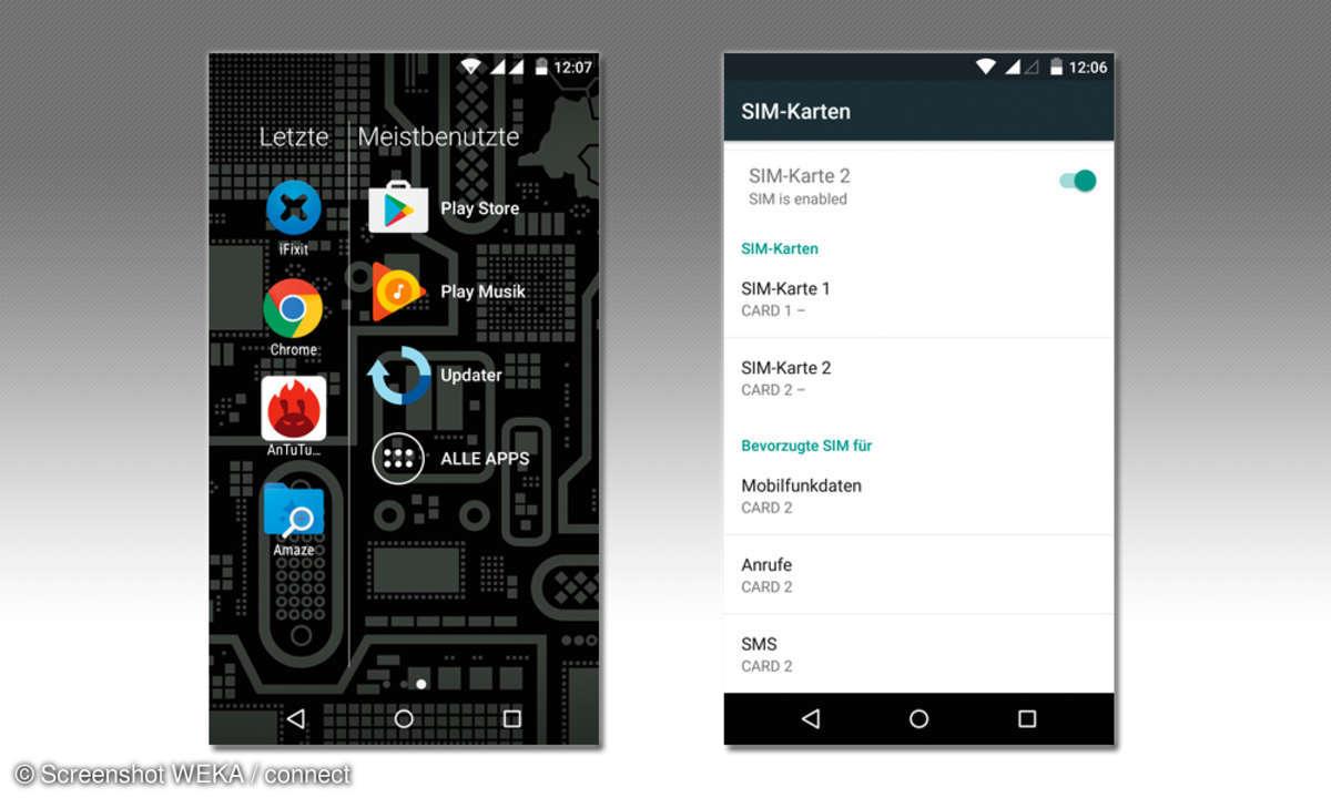 App Drawer und SIM-Karten Einstellungsmenü