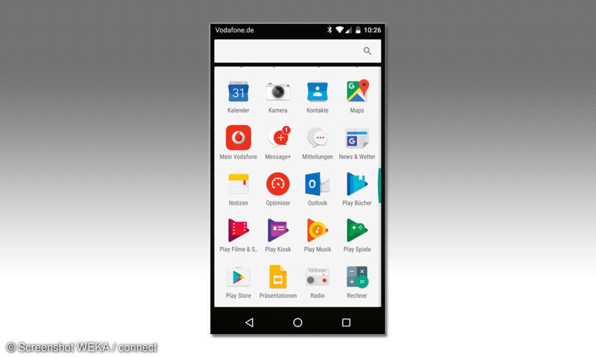 Vodafone Smart Platinum 7 Hauptmenü