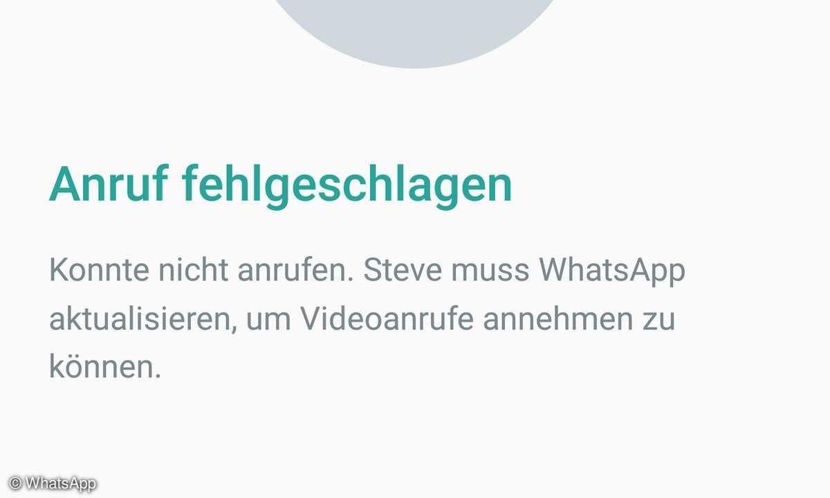 WhatsApp Fehler Videotelefonie