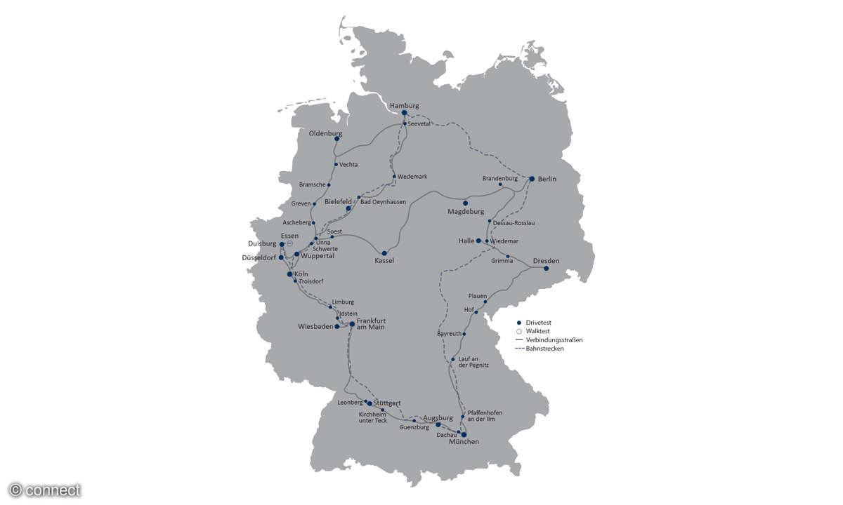 connect Netztest 2017 Route Deutschland