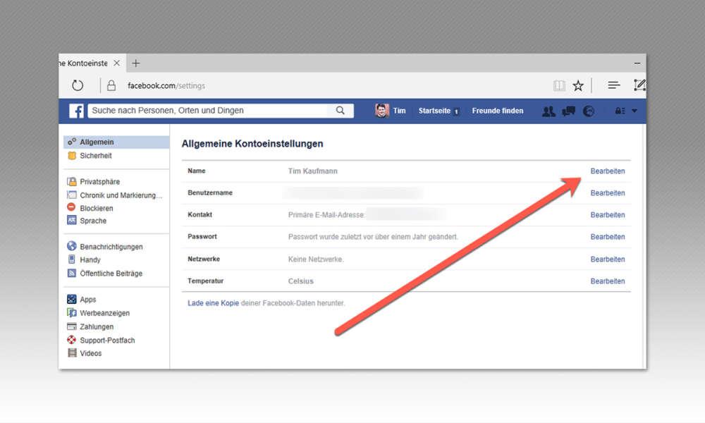 name bei facebook ändern