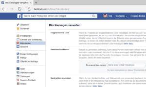 Screenshot: Blockierungen verwalten