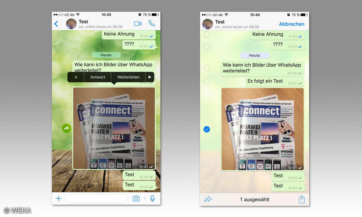 Inhalte über WhatsApp weiterleiten