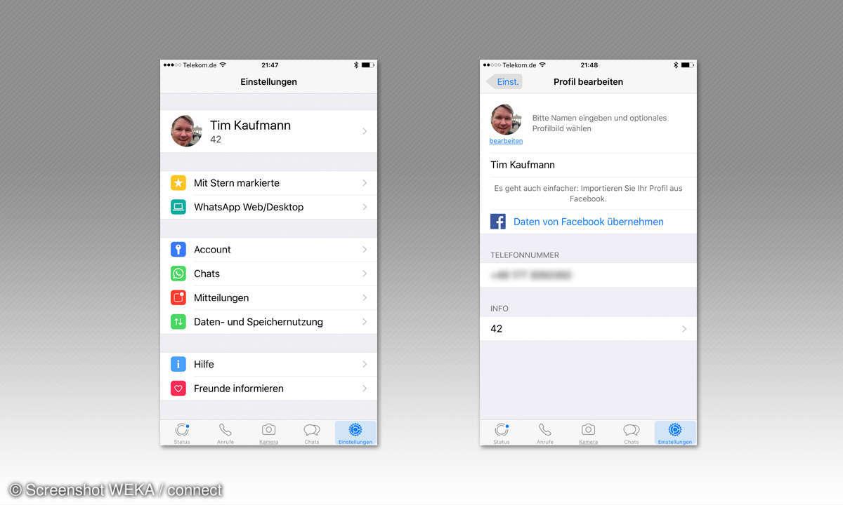 WhatsApp Profil bearbeiten