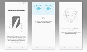 Screenshots: Fingerprintsensor, Iris-Scanner, Gesichtserkennung