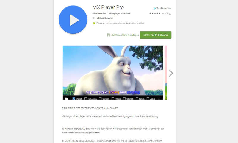 Statt 6 Euro nur 10 Cent: MX Player Pro für Android im Angebot - connect