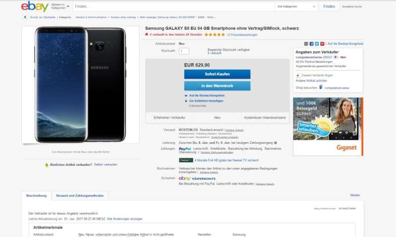 samsung galaxy s8 kaufen ebay angebot f r 629 90 euro. Black Bedroom Furniture Sets. Home Design Ideas