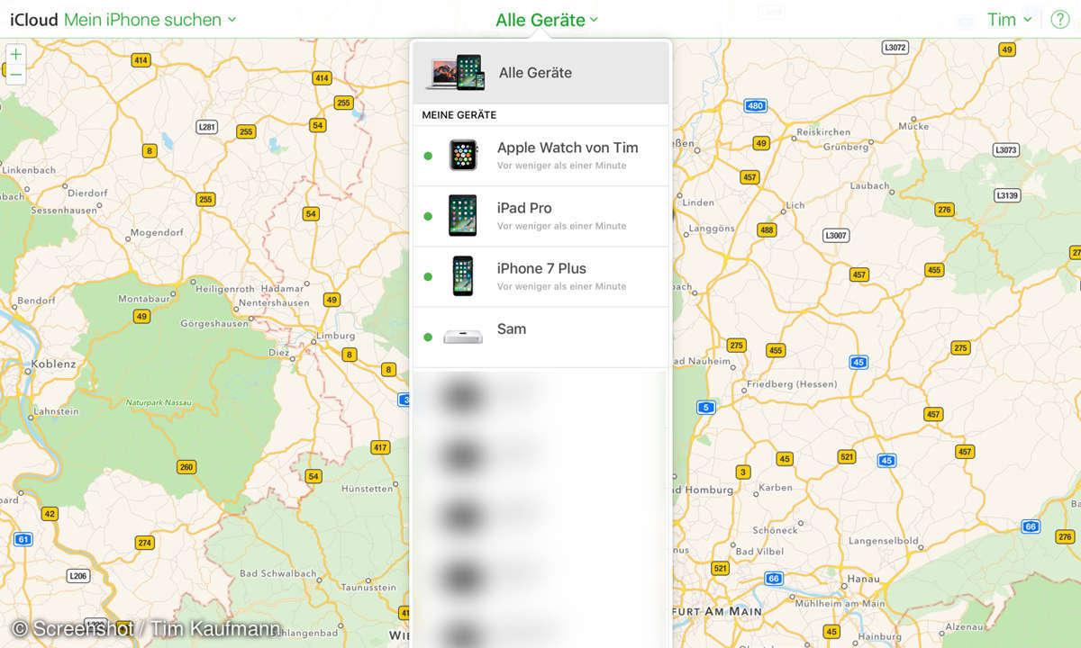 iCloud-Landkarte