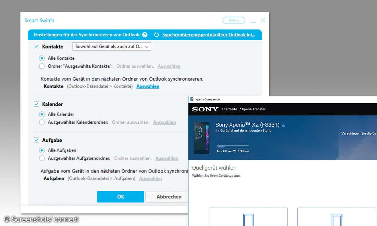 Samsung Smart Switch und Xperia Transfer