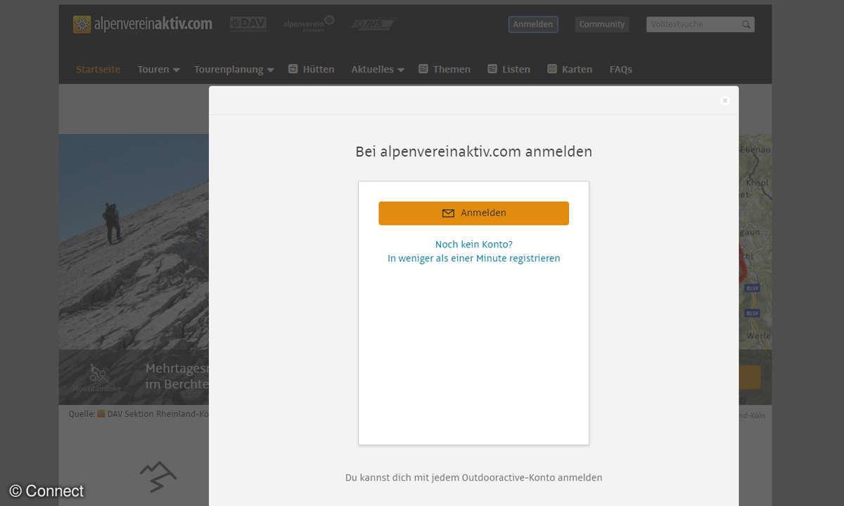 Alpenvereinaktiv Anmeldung