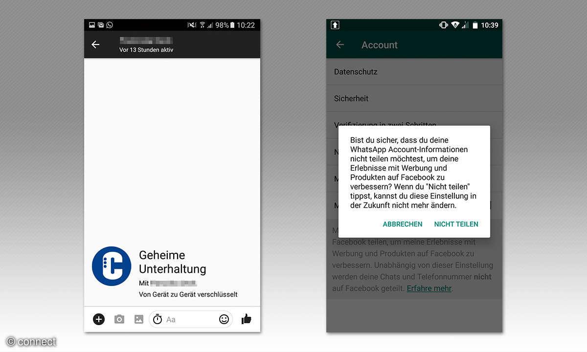 Screenshots WhatsApp und Facebook-Messenger
