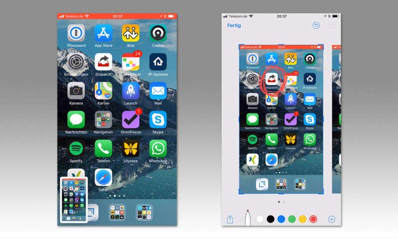 screenshot beim iphone erstellen bildschirmfoto mit ios connect. Black Bedroom Furniture Sets. Home Design Ideas