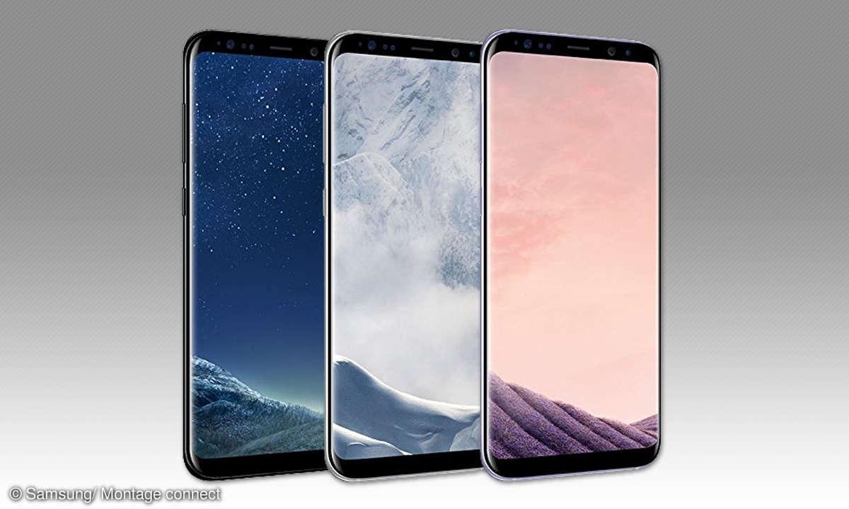 Galaxy S8 Plus in Schwarz, Silber und Violett