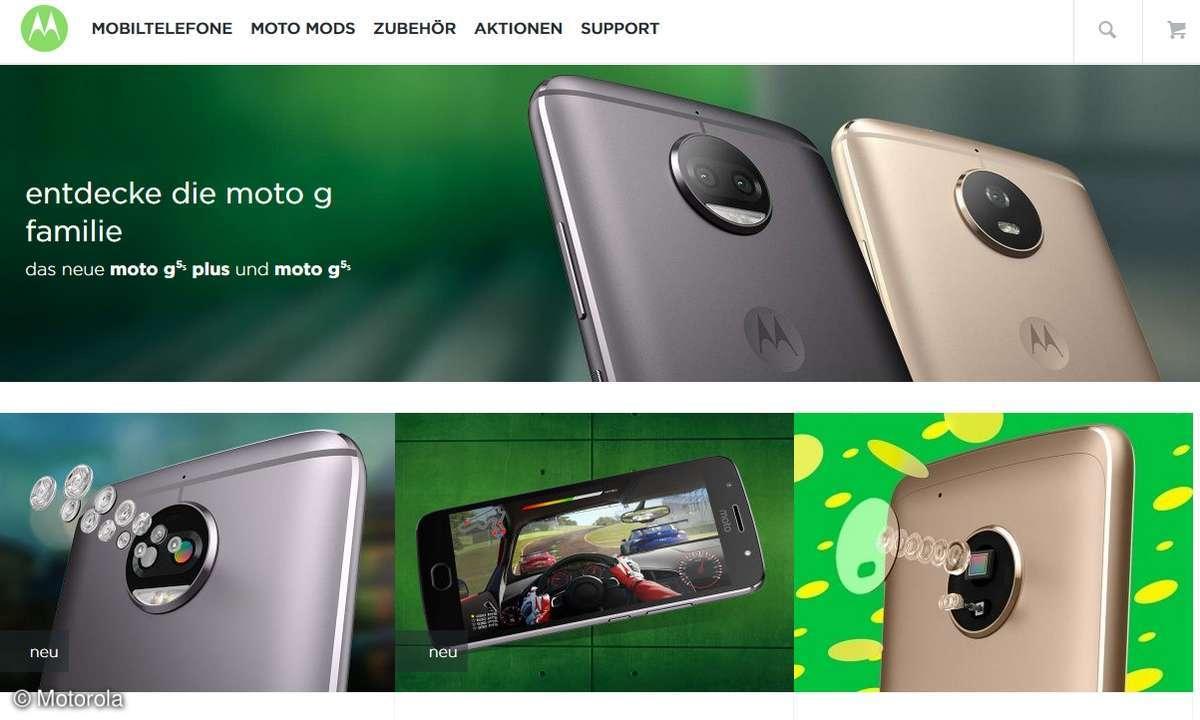 Motorola Webseite Screenshot