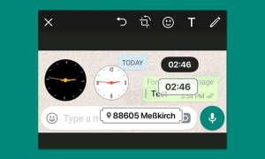 Uhrzeit- und Ortssticker in WhatsApp