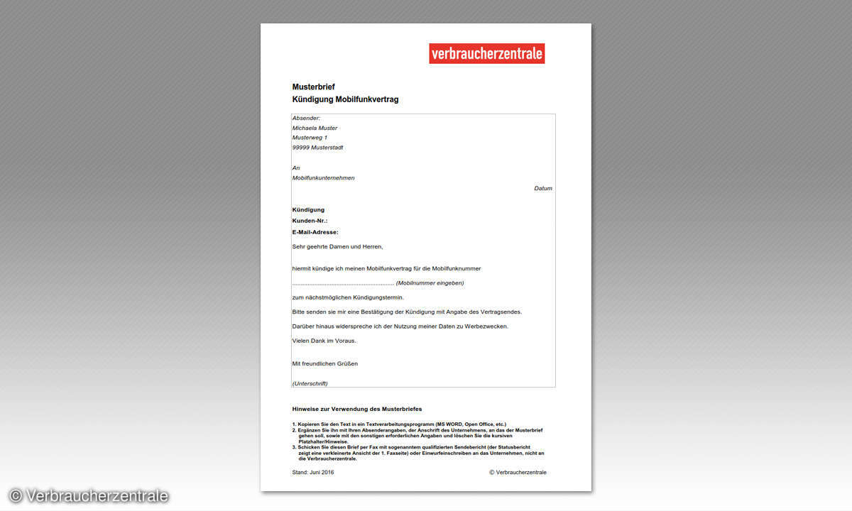 Handy-Vertrag: Musterbrief-Kündigung